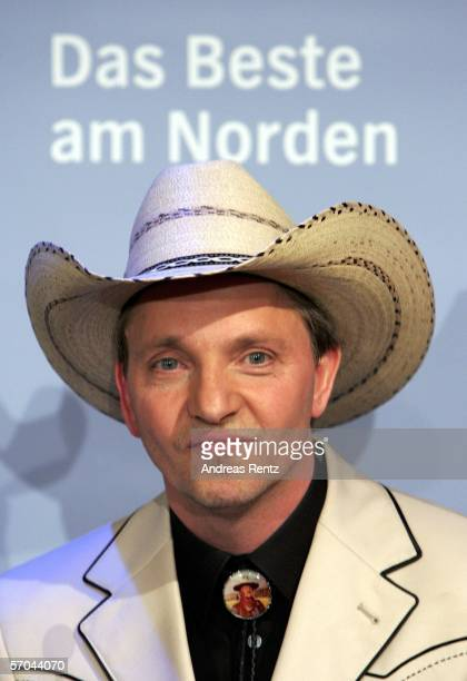 Drummer Olli Dittrich smiles during a press conference at the theatre Deutsches Schauspielhaus on March 9, 2006 in Hamburg, Germany. The country band...