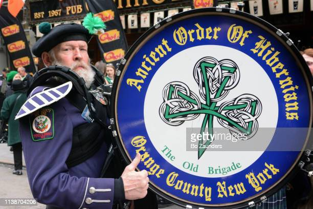 Drummer on St. Patrick's Day Parade on March 16, 2019