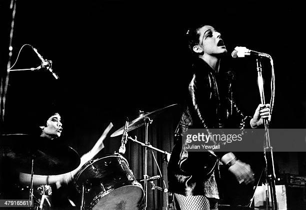 Drummer Palmolive and singer Ari Up performing with British punk group The Slits at the Coliseum Harlesden London 11th March 1977 The group are...