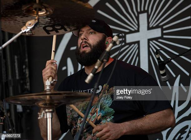 Drummer Pepe Clarke of Kyng performs live during the 2012 Rock On The Range festival at Crew Stadium on May 19 2012 in Columbus Ohio
