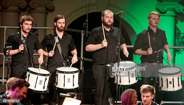Drummer perform at the Thurn Taxis Castle Festival 2015 The Wall on July 21 2015 in Regensburg Germany