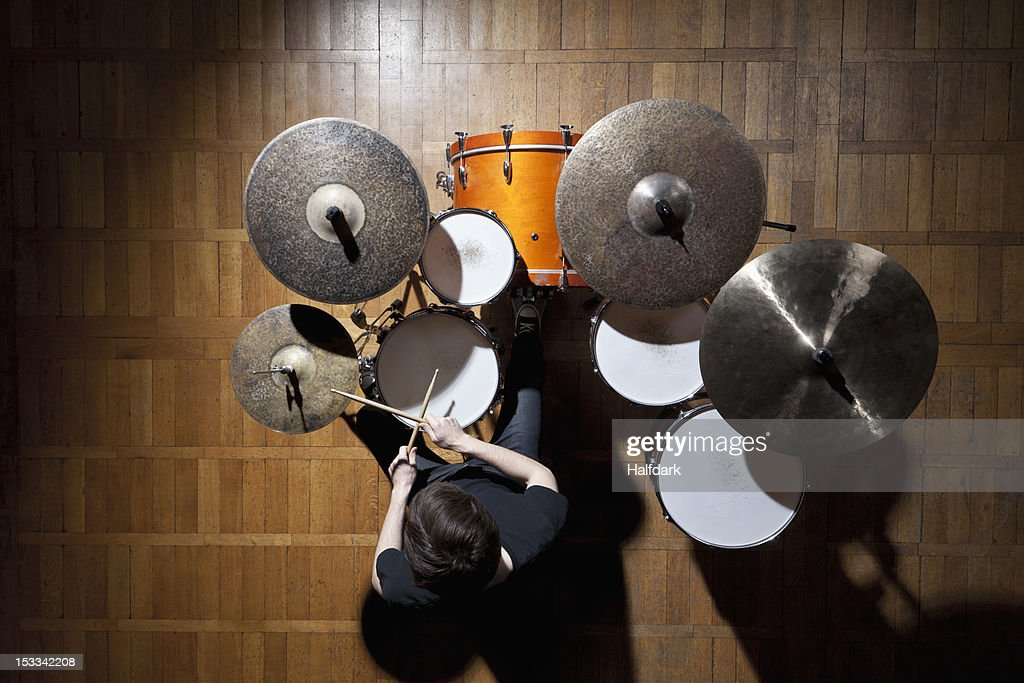 Drummer performing : Stock Photo