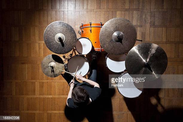 drummer performing - drum kit stock photos and pictures