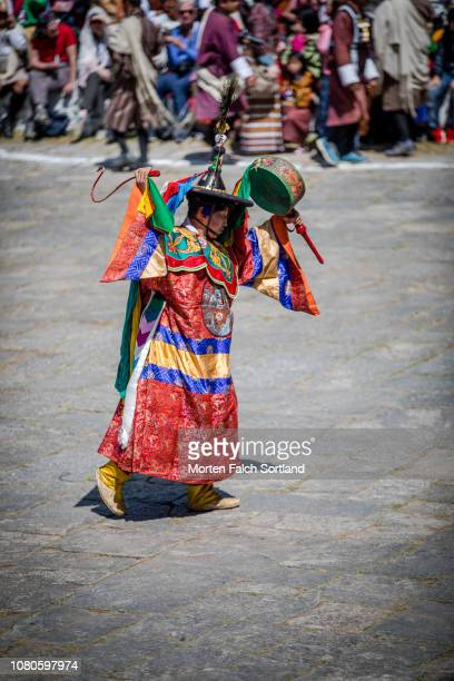 A Drummer Performs During Paro Tsechu Celebrations at Rinpung Dzong Monastery in Paro, Bhutan Springtime
