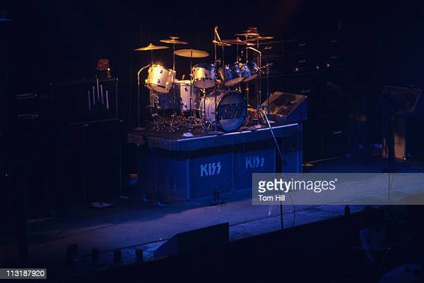 Drummer Peter Criss' drumset awaits the performance of the band Kiss at Alex Cooley's Electric Ballroom on July 18 1974 in Atlanta Georgia