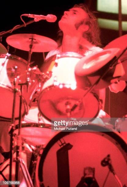Drummer Phil Collins of Genesis performing on stage circa 1972