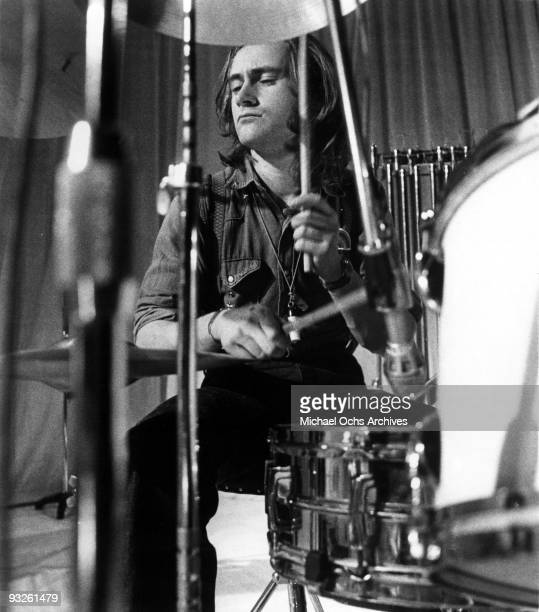 Drummer Phil Collins of the progressiverock group Genesis records drums in the studio for the Famous Charisma Records Label in 1972