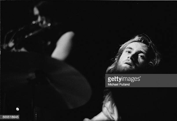 Drummer Phil Collins performing with English progressive rock group Genesis London 1971