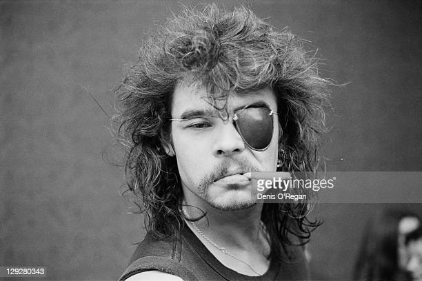 Drummer Phil 'Philthy Animal' Taylor of English heavy metal group Motorhead wearing an eyepatch Leeds circa 1980