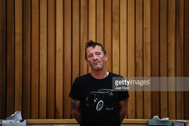DC drummer Phil Rudd appears in court after being charged with threatening to kill and possession of meth and marijuana at Tauranga District Court on...