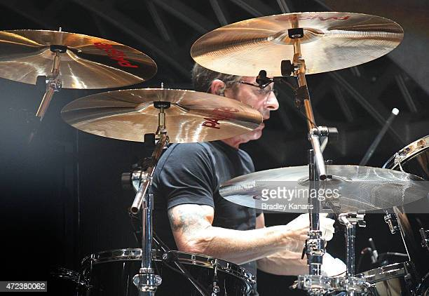 Drummer Phil Rudd of AC/DC performs live for fans at Queensland Sport and Athletics Centre on February 25 2010 in Brisbane Australia