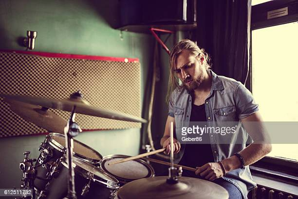 drummer - drum kit stock photos and pictures