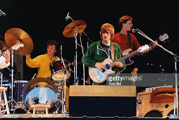 Drummer Pierre Moerlen and Bassist Hansford Rowe perform on stage with Mike Oldfield at the Knebworth Festival, on June 21st, 1980 in Hertfordshire,...