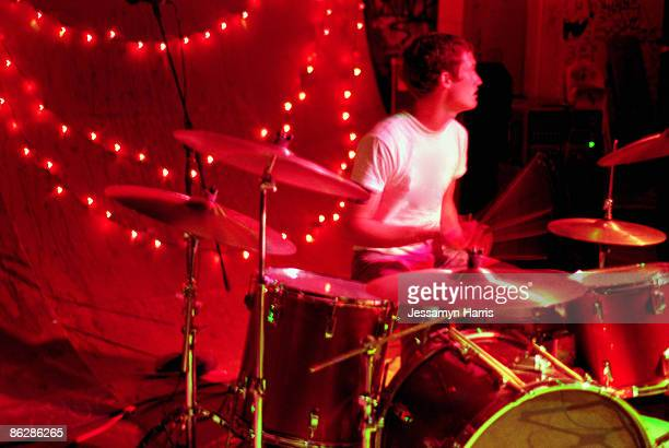 Drummer playing at club