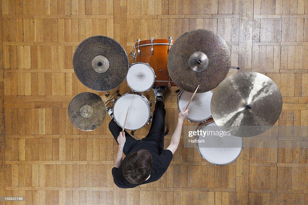 Drummer playing kit : Stock Photo