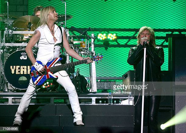 Drummer Rick Allen, bassist Rick Savage, and singer Joe Elliott of Def Leppard performs during the VH1 Rock Honors at the Mandalay Bay Events Center...