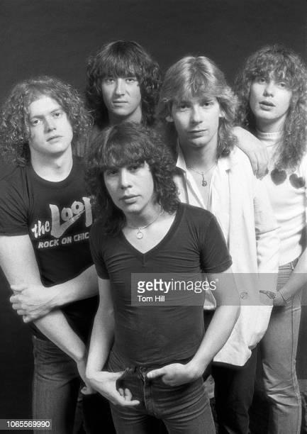Rick Allen, Joe Elliott, Pete Willis , Steve Clark and Rick Savage of Def Leppard are photographed before performing at The Fox Theater. September 4,...