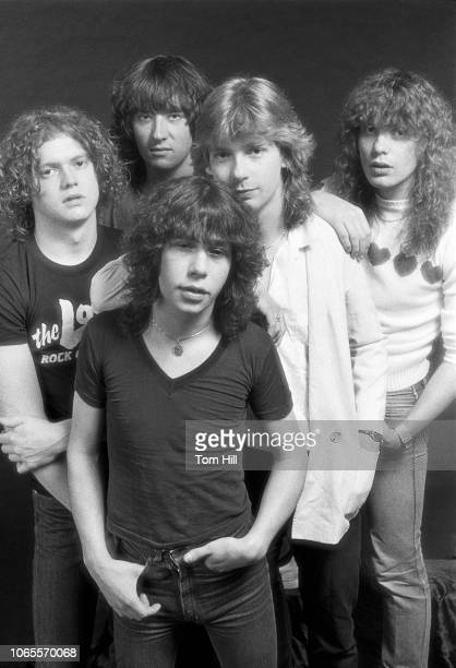 Rick Allen Joe Elliott Pete Willis Steve Clark and Rick Savage of Def Leppard are photographed before performing at The Fox Theater September 4 1981...