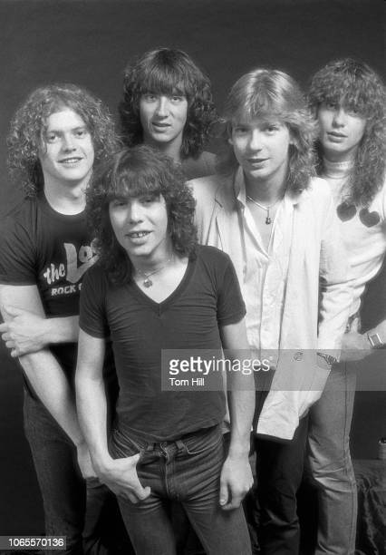 Rick Allen Pete Willis Joe Elliott Steve Clark and Rick Savage of Def Leppard are photographed before performing at The Fox Theater September 4 1981...