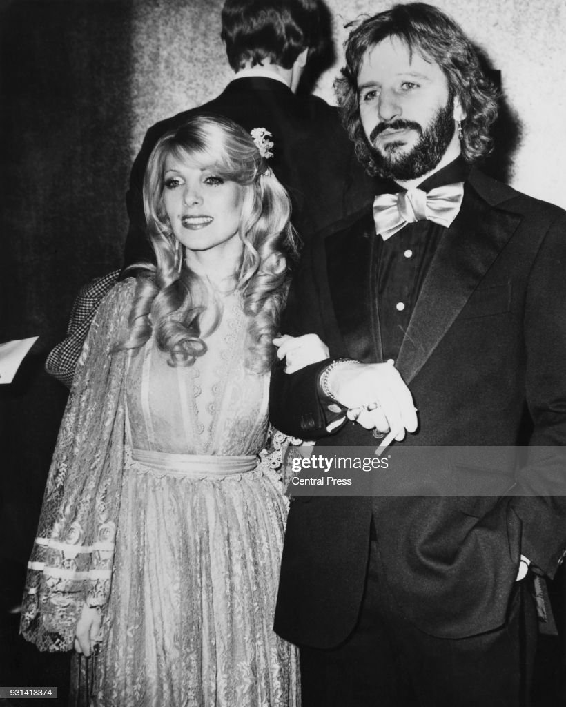 Drummer Ringo Starr Formerly Of British Rock Group The Beatles With His Girlfriend Singer