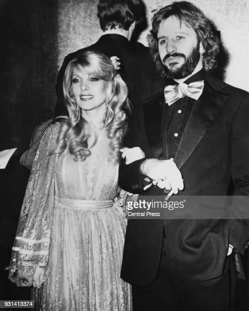 Drummer Ringo Starr formerly of British rock group the Beatles with his girlfriend singer Lynsey de Paul at the premiere of the film 'The Man Who...