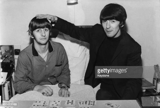 Drummer Ringo Starr gets a visit from fellow Beatle George Harrison whilst recuperating from an operation to remove his tonsils at the University...
