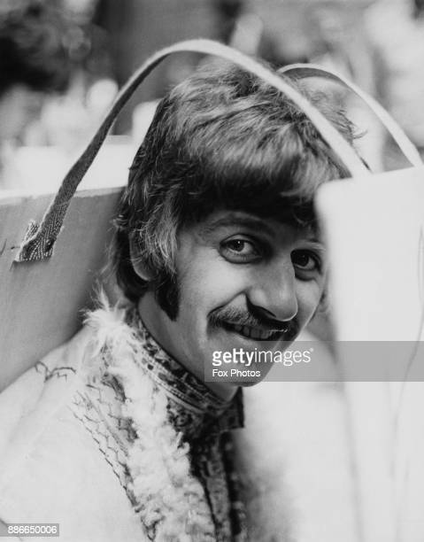 Drummer Ringo Starr of English rock band the Beatles before performing 'All You Need is Love' on a satellite link-up from the Abbey Road Studios in...