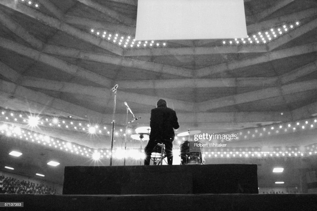 Drummer Ringo Starr on stage at the Nippon Budokan in Tokyo during the Beatles' Asian tour, 30th June 1966.