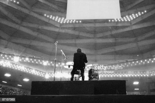 Drummer Ringo Starr on stage at the Nippon Budokan in Tokyo during the Beatles' Asian tour 30th June 1966