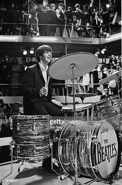 Drummer Ringo Starr rehearsing with The Beatles for the 'Round The Beatles' TV show at the Rediffusion TV studios in Wembley, London, 27th April 1964.