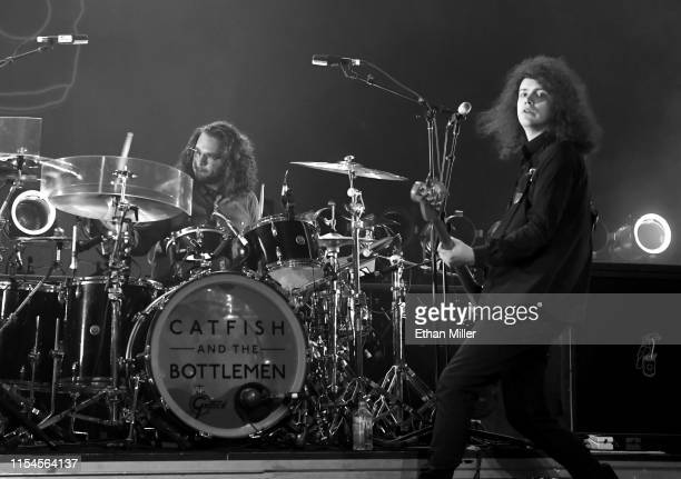 "Drummer Robert ""Bob"" Hall and bassist Benji Blakeway of Catfish and the Bottlemen perform during X107.5's ""Our Big Concert"" at The Chelsea at The..."