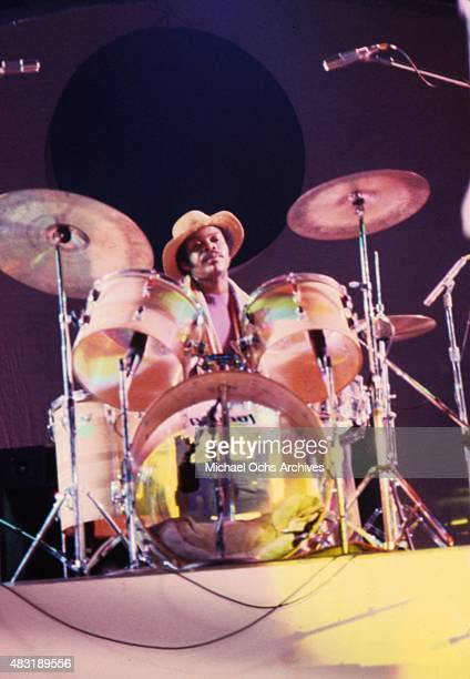 Drummer Robert Johnson of the funk group KC and the Sunshine Band poses for a portrait in circa 1979