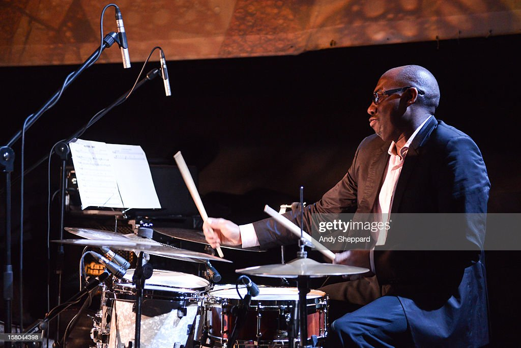 Drummer Rod Youngs performs for the Jazz in the Round 2012 Christmas Special at The Cockpit Theatre on December 9, 2012 in London, England.