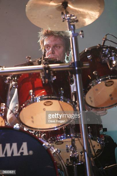 Drummer Roger Taylor from Duran Duran performs live at The Forum on October 14 2003 in London England