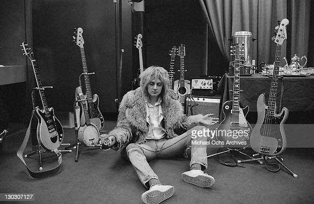 Drummer Roger Taylor of British rock band Queen backstage during the band's US tour 1977
