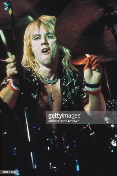 Drummer Roger Taylor of British rock band Queen in concert 1977