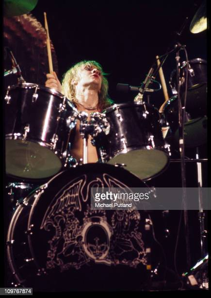 Drummer Roger Taylor of British rock band Queen performing on stage at Madison Square Garden in New York City in February 1977