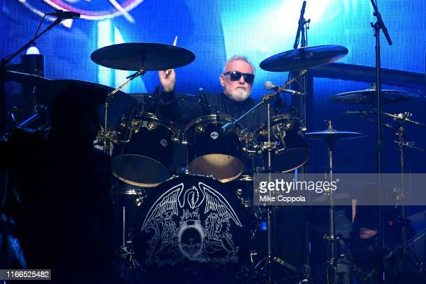 Drummer Roger Taylor of Queen Adam Lambert performs at Madison Square Garden on August 06 2019 in New York City