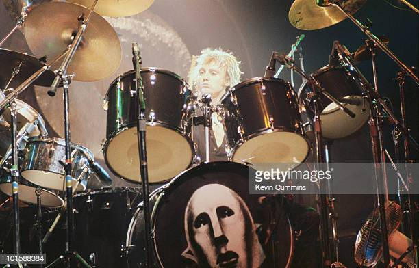Drummer Roger Taylor of rock band Queen performs on stage at the Apollo in Manchester England on November 27 1979