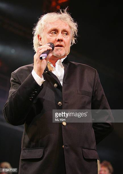 Drummer Roger Taylor of the band Queen joins the onstage band for the 1000th performance of Ben Elton's musical We Will Rock You at the Dominion...