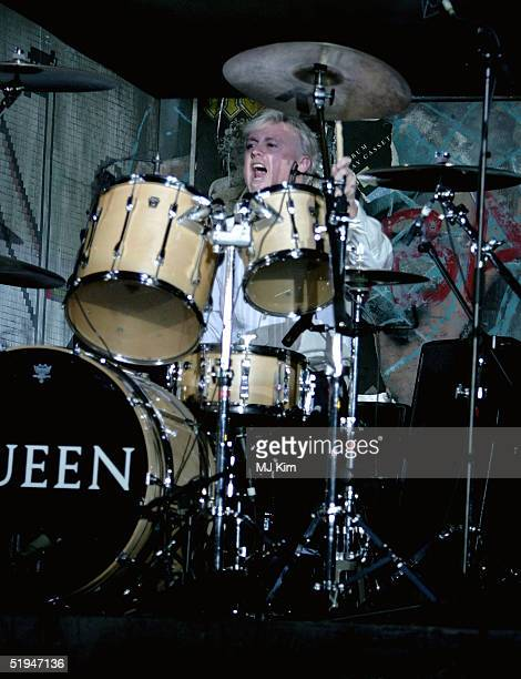 Drummer Roger Taylor of the band Queen performs onstage during the 1000th performance of Ben Elton's musical We Will Rock You at the Dominion Theatre...