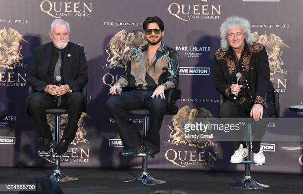 Drummer Roger Taylor singer Adam Lambert and guitarist Brian May of Queen Adam Lambert attend a news conference at the MGM Resorts aviation hangar to...