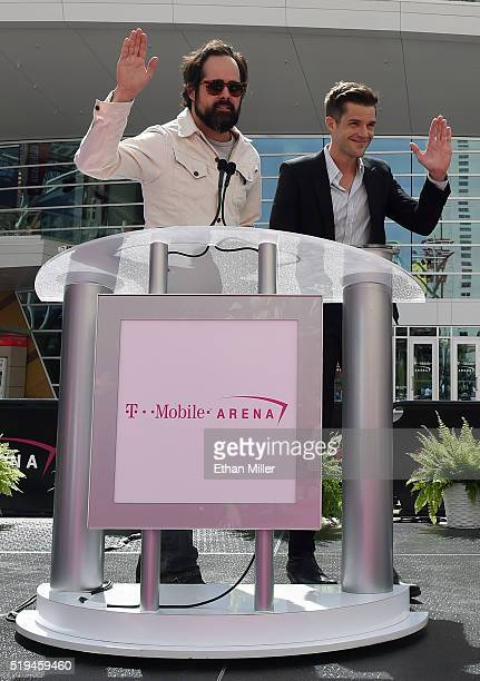 Drummer Ronnie Vannucci Jr and frontman Brandon Flowers of The Killers speak at the TMobile Arena grand opening news conference on the Las Vegas...
