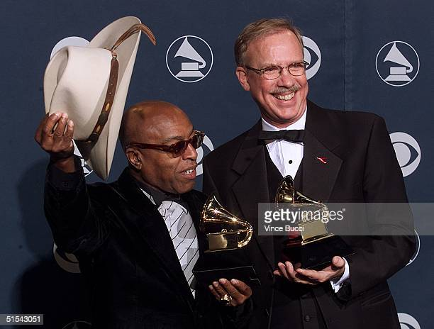 "Drummer Roy Haynes and vibraphonist Gary Burton pose with their Grammy awards for Best Jazz Instrumental Performance, Individual or Group, for ""Like..."