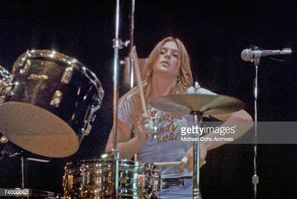 Drummer Sandy West of the rock band 'The Runaways' performs on stage in Los Angeles in 1977