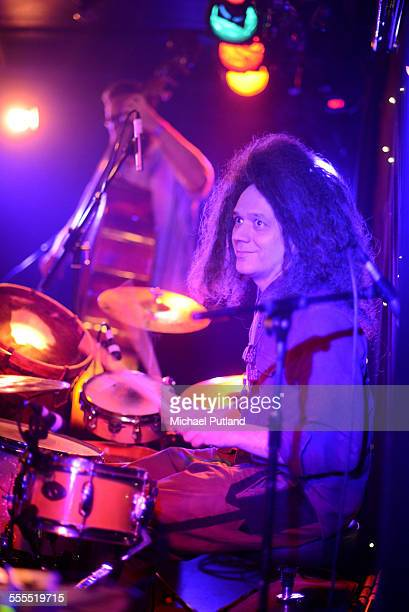 Drummer Seb Rochford of British experimental jazz band Polar Bear performing on stage at Brighton Komedia United Kingdom 15th April 2015 In the...