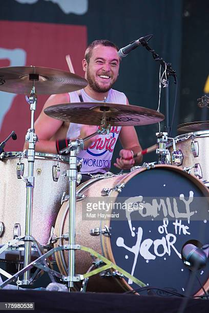 Drummer Sebastian Keefe of Family of the Year performs on stage during Summer Camp hosted by 1077 The End at Marymoor Park on August 10 2013 in...