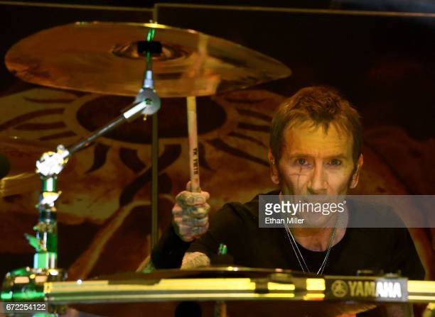 Drummer Shannon Larkin of Godsmack performs during the Las Rageous music festival at the Downtown Las Vegas Events Center on April 21 2017 in Las...