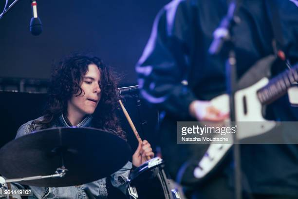 Drummer Sheridan Riley of Alvvays performs onstage during day 3 of 2018 Boston Calling Music Festival at Harvard Athletic Complex on May 27 2018 in...
