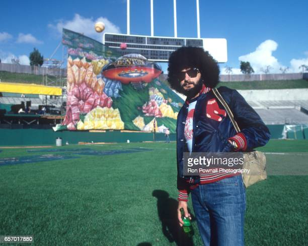Drummer Sib Hashian of the band BOSTON poses for a photo on the field at Aloha Stadium on April 28 1979 in Honolulu Hawaii